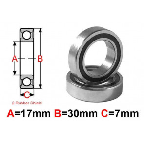 AT Bearing 17x30x7mm RS chrome steel rubber shielded (6903-2rs) (1pc)