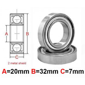 AT Bearing 20x32x7mm MS chrome steel Metal shielded (6804zz) (1pc)