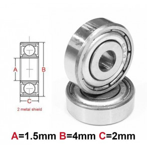 AT Bearing 1.5x4x2mm MS chrome steel metal shielded (1pc)