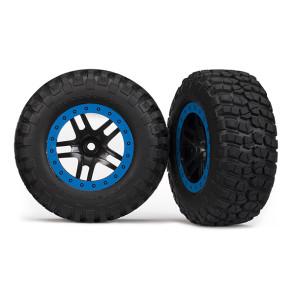 Traxxas SCT Tire/Wheel Assy Glued Split-Spoke Black/Blue 5883a