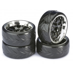 Absima 1/10 Wheel Set Drift LP 10 Comb/Profile A Black/Chrome (4pc) 2510040