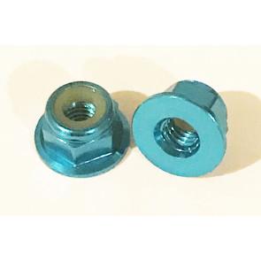 AT Alloy Flanged Lock Nut M2 Aqua Blue 2mm (6pc)