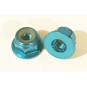 AT Alloy Flanged Lock Nut M3 Aqua Blue 3mm (6pc)