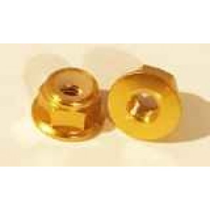 AT Alloy Flanged Lock Nut M3 Gold 3mm (6pc)