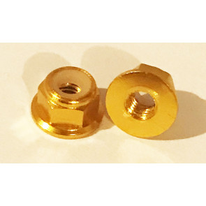 AT Alloy Flanged Lock Nut M4 Gold 4mm (6pc)