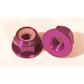 AT Alloy Flanged Lock Nut M4 Purple 4mm (6pc)
