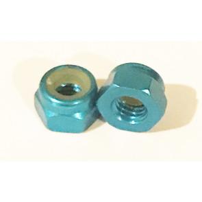 AT Alloy Lock Nut M3 Aqua Blue 3mm (6pc)