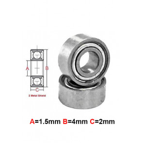 AT Stainless Steel Bearing MS 1.5x4x2mm Metal Seal (S681XZZ) (1pc)