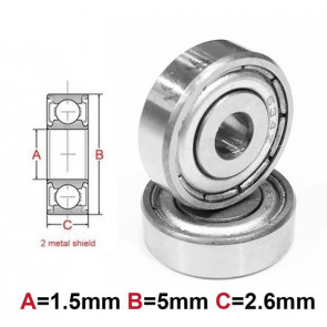 AT Bearing 1.5x5x2.6mm MS chrome steel metal shielded (1pc)