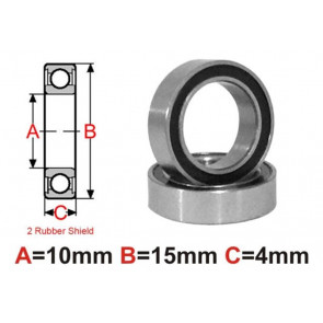 AT Bearing 10x15x4mm RS Ceramic Hybrid rubber sealed silicon nit (1pc)