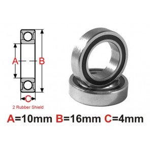 AT Bearing 10x16x4mm RS chrome steel rubber sealed (mr1016-2rs) (1pc)