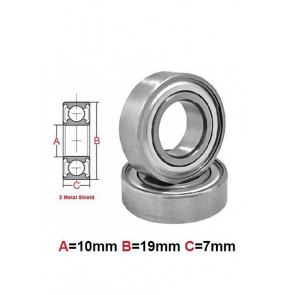 AT Bearing 10x19x7mm MS chrome steel Metal shielded (1pc)