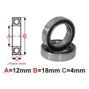 AT Bearing 12x18x4mm RS chrome steel rubber sealed (6701-2rs) (1pc)
