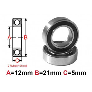 AT Bearing 12x21x5mm RS chrome steel rubber shielded (1pc)