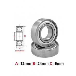 AT Bearing 12x24x6mm MS chrome steel Metal shielded (1pc)