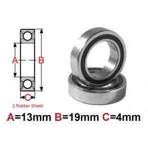 AT Bearing 13x19x4mm RS chrome steel rubber shielded (1pc)