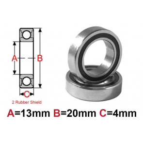 AT Bearing 13x20x4mm RS chrome steel rubber shielded (1pc)