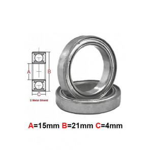 AT Stainless Steel Bearing MS 15X21X4mm Metal Seal (S6702ZZ) (1pc)