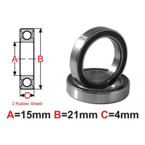 AT Bearing 15x21x4mm RS chrome steel rubber sealed (67052-2rs) (1pc)