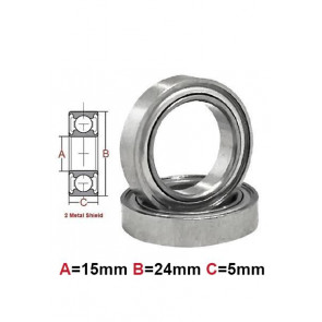 AT Bearing 15x24x5mm MS chrome steel Metal shielded (1pc)