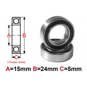 AT Bearing 15x24x5mm RS chrome steel rubber shielded (1pc)