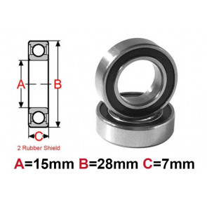 AT Bearing 15x28x7mm RS chrome steel rubber shielded (1pc)