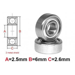AT Bearing 2.5x6x2.6mm MS chrome steel Metal shielded (1pc)