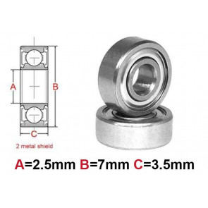 AT Bearing 2.5x7x3.5mm MS chrome steel Metal shielded (1pc)