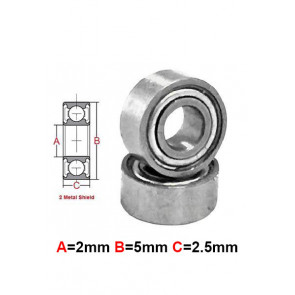 AT Stainless Steel Bearing MS 2x5x2.5mm Metal Seal (SMR52ZZ) (1pc)