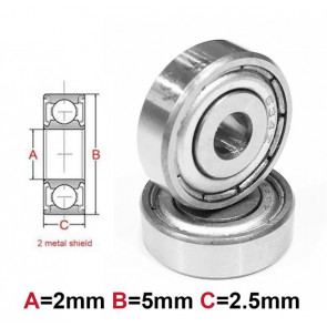 AT Bearing 2x5x2.5mm MS chrome steel Metal shielded (1pc)