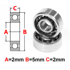 AT Stainless Steel Bearing OS 2x5x2mm Open (No Seal) (SMR52) (1pc)