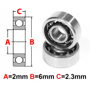 AT Stainless Steel Bearing OS 2x6x2.3mm Open (No Seal) (S692) (1pc)