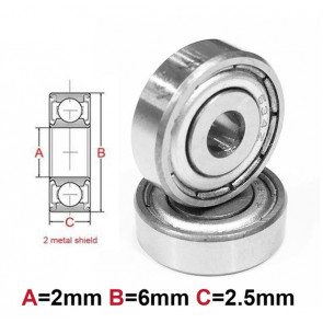 AT Bearing 2x6x2.5mm MS chrome steel Metal shielded (1pc)