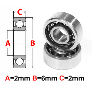 AT Stainless Steel Bearing OS 2X6X2mm Open (No Seal) (SMR62) (1pc)