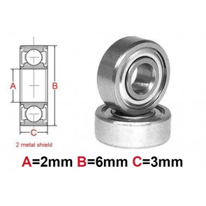 AT Bearing 2x6x3mm MS chrome steel Metal shielded (1pc)