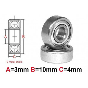 AT Bearing 3x10x4mm MS chrome steel Metal shielded (1pc)