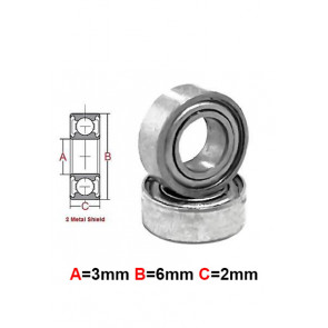 AT Stainless Steel Bearing MS 3x6x2.5mm Metal Seal (SMR63ZZ) (1pc)