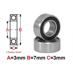 AT Bearing 3x7x3mm RS chrome steel rubber shielded (1pc)