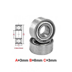 AT Stainless Steel Bearing MS 3X8X3mm Metal Seal (SMR83ZZ) (1pc)