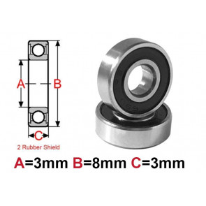 AT Bearing 3x8x3mm RS chrome steel rubber shielded (1pc)