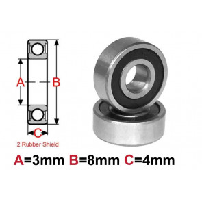 AT Bearing 3x8x4mm RS chrome steel rubber sealed (693-2rs) (1pc)