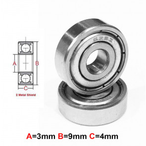 AT Stainless Steel Bearing MS 3x9x4mm Metal Seal (SMR93ZZ) (1pc)