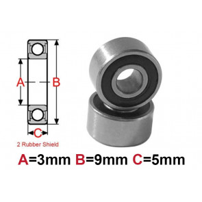 AT Bearing 3x9x5mm RS chrome steel rubber shielded (1pc)