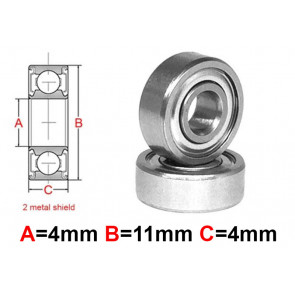 AT Stainless Steel Bearing MS 4x11x4mm Metal Seal (S694ZZ) (1pc)