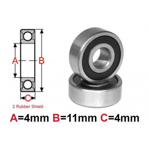 AT Bearing 4x11x4mm RS chrome steel rubber shielded (1pc)