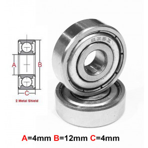 AT Stainless Steel Bearing MS 4x12x4mm Metal Seal (S604ZZ) (1pc)