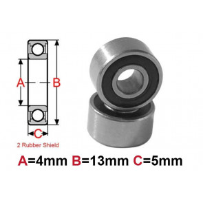 AT Bearing 4x13x5mm RS chrome steel rubber shielded (1pc)