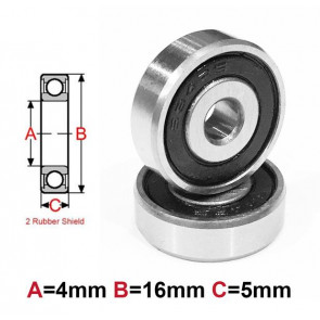 AT Bearing 4x16x5mm RS chrome steel rubber shielded (1pc)