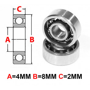 AT Stainless Steel Bearing OS 4X8X2mm Open (No Seal) (SMR84) (1pc)