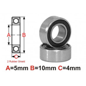 AT Bearing 5x10x4mm RS Ceramic Hybrid rubber sealed silicon nitr (1pc)